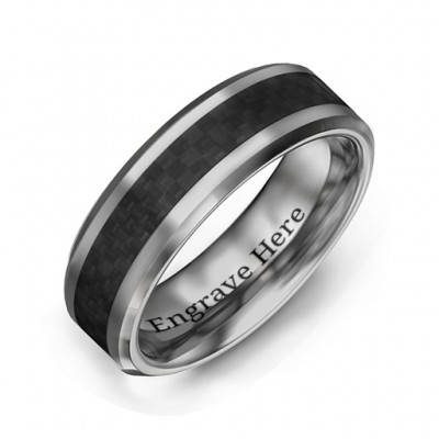 Men's Black Carbon Fiber Inlay Polished Tungsten Ring - Name My Jewelry ™