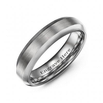 Men's Brushed Centre Polished Tungsten Ring - Name My Jewelry ™