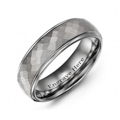 Men's Hammered Centre Polished Tungsten Ring - Name My Jewelry ™