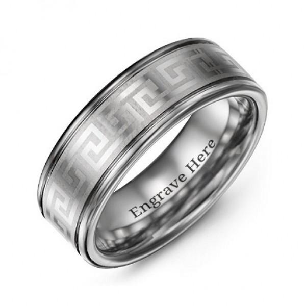 Men's Polished Eternal Greek Key Tungsten Ring - Name My Jewelry ™