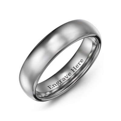 Men's Polished Tungsten Dome 6mm Ring - Name My Jewelry ™