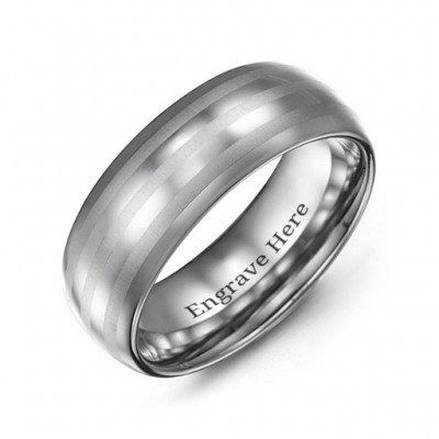 Men's Tungsten Polished Triple Stripe Satin Centre Ring - Name My Jewelry ™