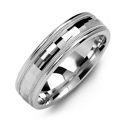 Milgrain Men's Ring with Baguette-Cut Centre - Name My Jewelry ™