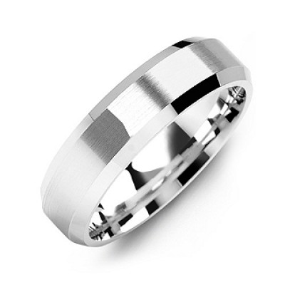Modern Brushed Men's Ring with Beveled Edges - Name My Jewelry ™