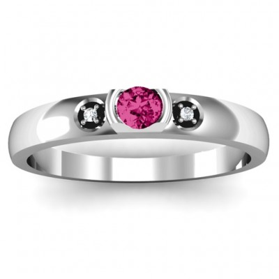 Open Bezel Cut Ring with Accents Stones  - Name My Jewelry ™