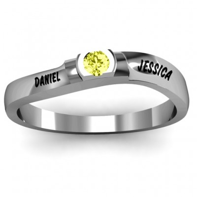 Open Bezel Set Swirl Ring - Name My Jewelry ™
