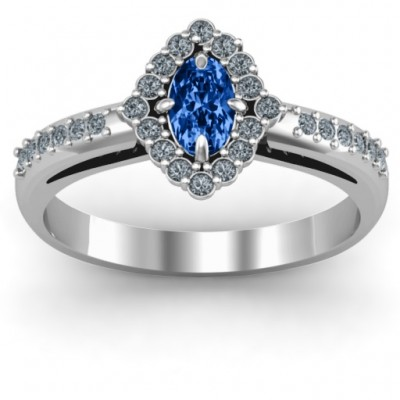 Oval Cluster with Shoulder Accents Ring - Name My Jewelry ™