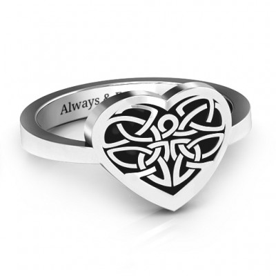 Oxidized Silver Celtic Heart Ring - Name My Jewelry ™