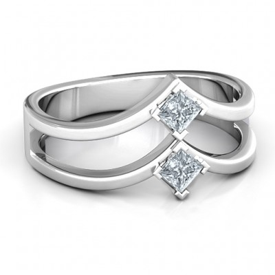 Peaks and Valleys Geometric Ring With Princess Stones  - Name My Jewelry ™