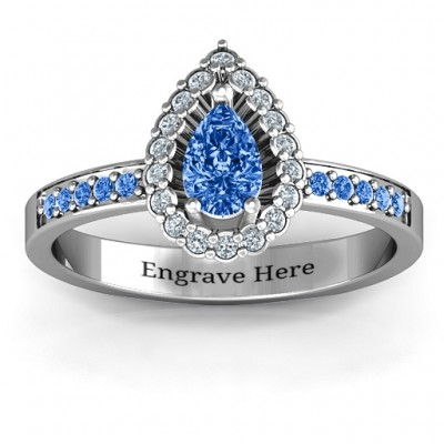 Pear Shaped Halo Ring - Name My Jewelry ™
