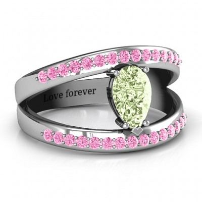 Pear With Flair Ring with Accents - Name My Jewelry ™