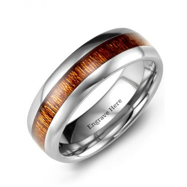Polished Tungsten Ring with Koa Wood Insert - Name My Jewelry ™
