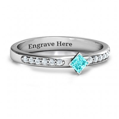 Princess Centre Stone Ring with Twin Accent Rows  - Name My Jewelry ™