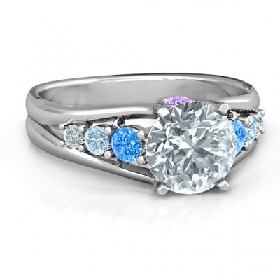 Radiant Love Ring with Collar Gems - Name My Jewelry ™