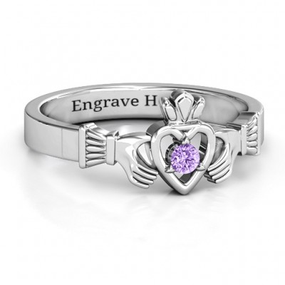 Round Stone Claddagh Ring  - Name My Jewelry ™