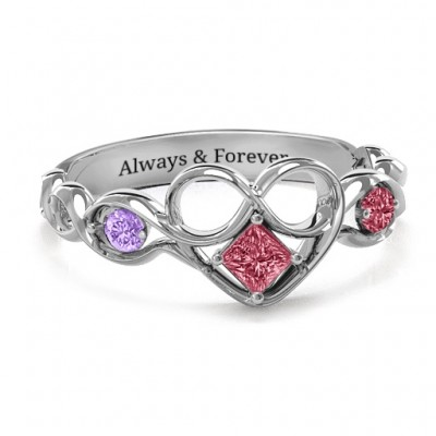 Shimmering Infinity Princess Stone Heart Ring  - Name My Jewelry ™