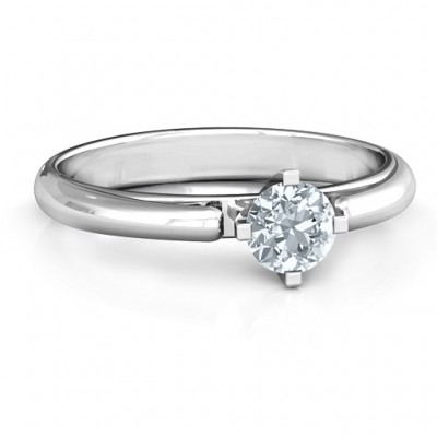 Ski Tip Solitaire Round Ring - Name My Jewelry ™