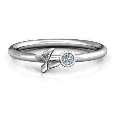 Soaring Butterfly with Stone 'Flower' Ring  - Name My Jewelry ™