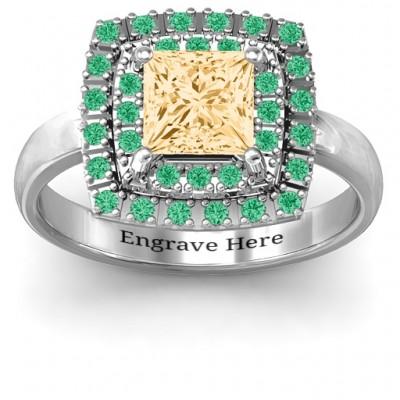 Splendid Double Halo Princess Ring - Name My Jewelry ™