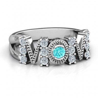 Split Shank Stone Filled MOM Ring  - Name My Jewelry ™
