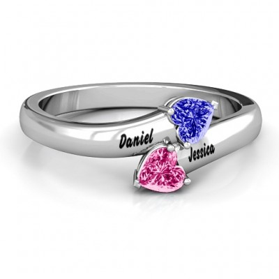 Sterling Silver  Tribute  Hearts Bypass Ring - Name My Jewelry ™
