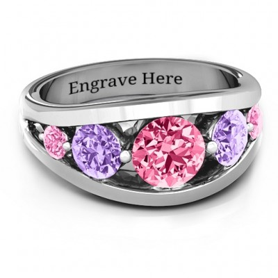 Sterling Silver 5 Stone Split Shank Ring  - Name My Jewelry ™