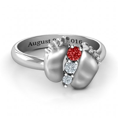 Sterling Silver Baby Foot Birthstone Ring  - Name My Jewelry ™