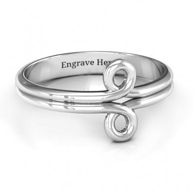 Sterling Silver Basket Weave Loop Ring - Name My Jewelry ™