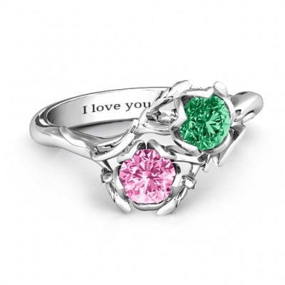 Sterling Silver Be-leaf In Love Double Gemstone Floral Ring  - Name My Jewelry ™