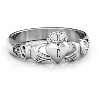 Sterling Silver Celtic Knotted Claddagh Ring - Name My Jewelry ™