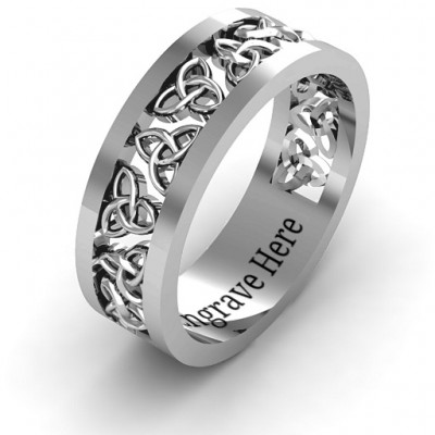 Sterling Silver Celtic Wreath Men's Ring - Name My Jewelry ™