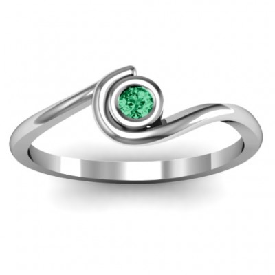 Sterling Silver Curved Bezel Ring - Name My Jewelry ™