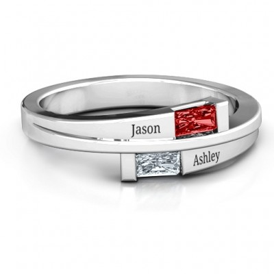 Sterling Silver Double Baguette Bypass Ring with Garnet (Simulated) Stones  - Name My Jewelry ™