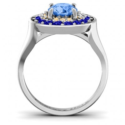 Sterling Silver Double Halo Fountain Ring - Name My Jewelry ™