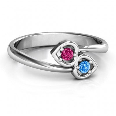 Sterling Silver Double Heart Bypass Ring - Name My Jewelry ™