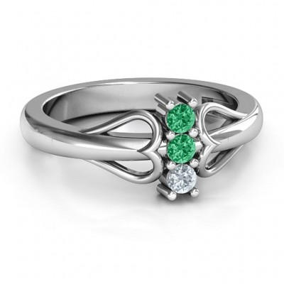 Sterling Silver Double Heart Three Stone Ring  - Name My Jewelry ™