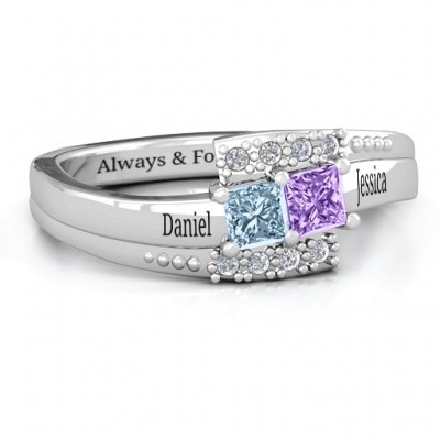 Sterling Silver Double Princess Bypass with Accents Ring - Name My Jewelry ™