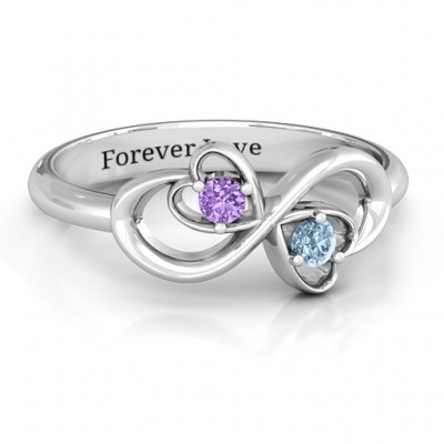 Sterling Silver Duo of Hearts and Stones Infinity Ring  - Name My Jewelry ™