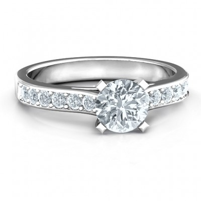 Sterling Silver Elegant Duchess Ring with Shoulder Accents - Name My Jewelry ™