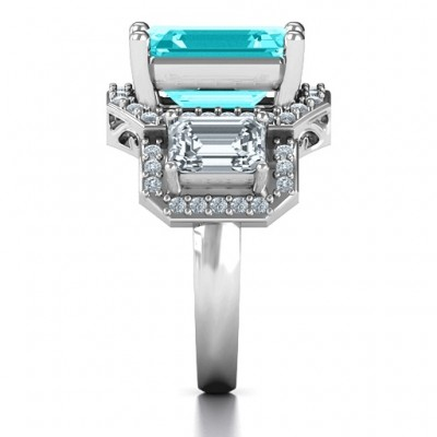 Sterling Silver Emerald Cut Trinity Ring with Triple Halo - Name My Jewelry ™