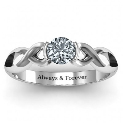 Sterling Silver Half Bezel Infinity Ring - Name My Jewelry ™