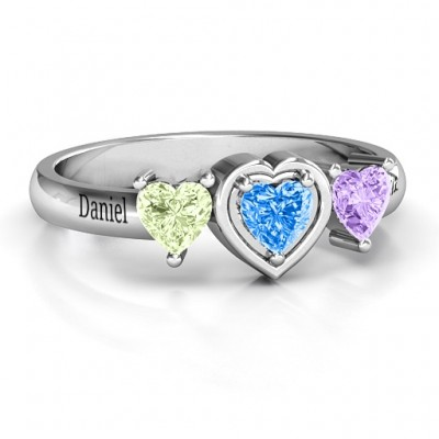 Sterling Silver Heart Stone with Twin Heart Accents Ring  - Name My Jewelry ™