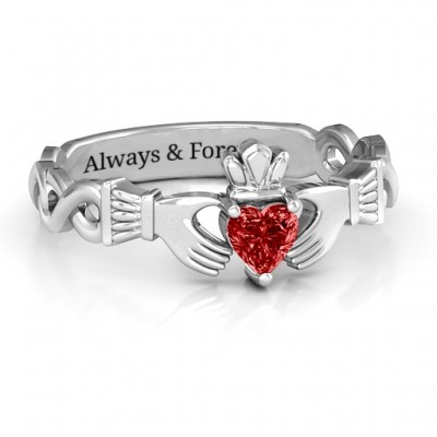 Sterling Silver Infinity Claddagh with Heart Stone Ring and Amethyst (Simulated) Stone  - Name My Jewelry ™
