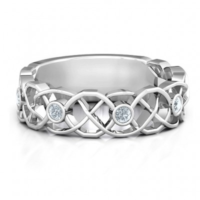 Sterling Silver Intertwined Love Band Ring - Name My Jewelry ™