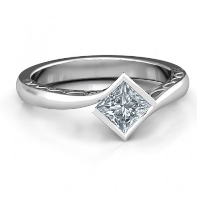 Sterling Silver Krista Princess Cut Ring - Name My Jewelry ™