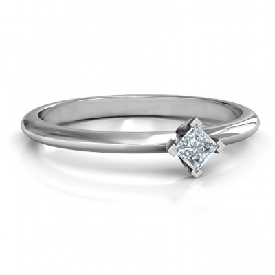 Sterling Silver L-Shaped Princess Ring - Name My Jewelry ™