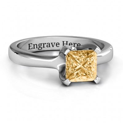 Sterling Silver Large Princess Solitaire Ring - Name My Jewelry ™