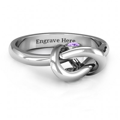Sterling Silver Modern Infinity Heart Ring - Name My Jewelry ™