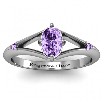 Sterling Silver Oval Split Shank Accent Ring - Name My Jewelry ™