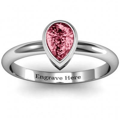 Sterling Silver Pear with Raised Bezel Set Ring - Name My Jewelry ™